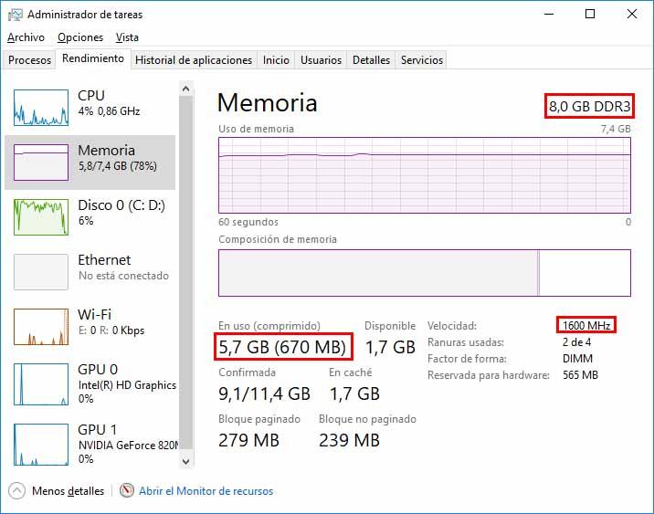administrador de tareas memoria ram